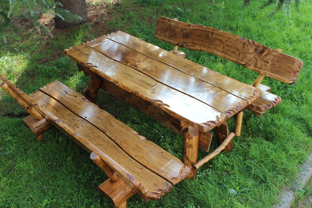 Tavolo da giardino in legno massiccio arredo giardino cm - Panche e tavoli da esterno ...