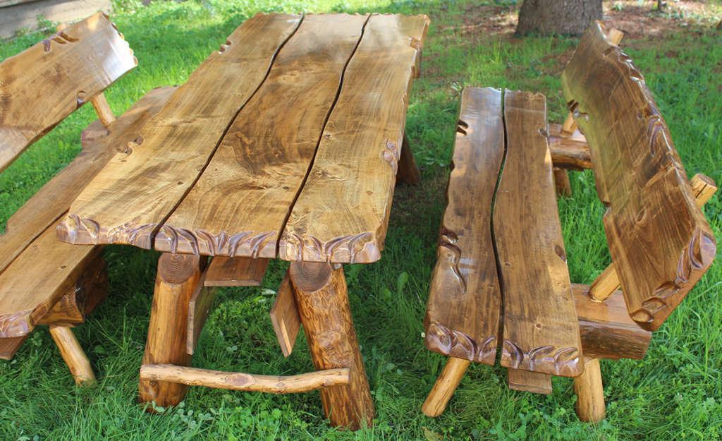 Tavolo da giardino in legno massiccio arredo giardino cm for Tavolo rustico legno