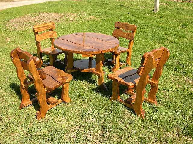 Tavolo da giardino in legno per esterno arredo tondo con 4 - Dimensioni tavolo tondo 4 persone ...