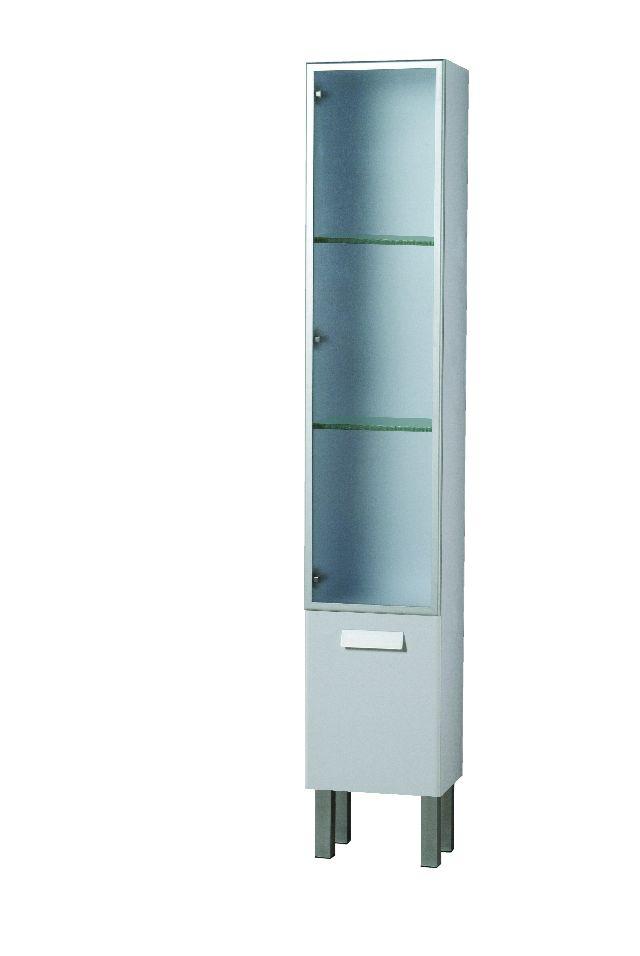 Colonna mobile per bagno arredo bagno mobiletto porta oggetti anta in vetro ebay - Mobiletto bagno ...