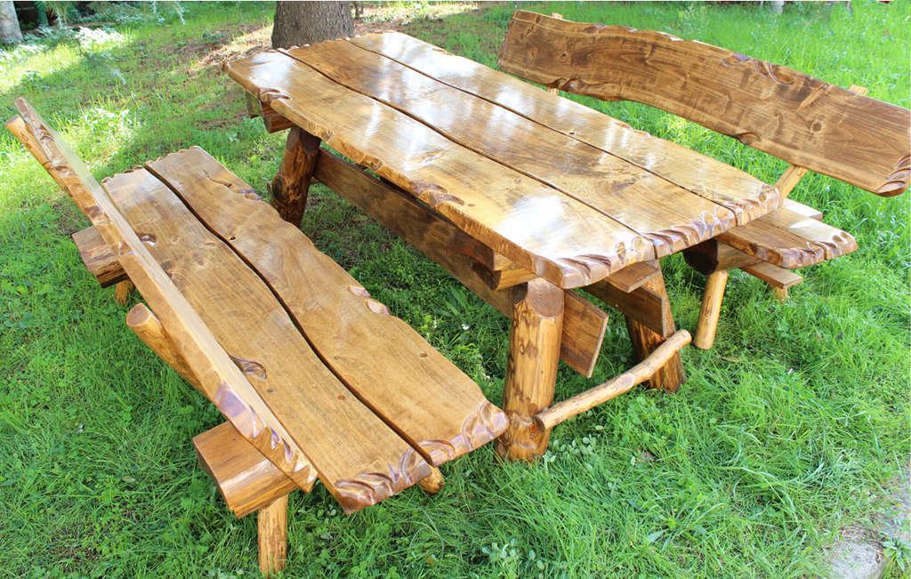 Tavolo da giardino in legno massiccio arredo giardino con 2 panche ebay - Mobili in legno da esterno ...