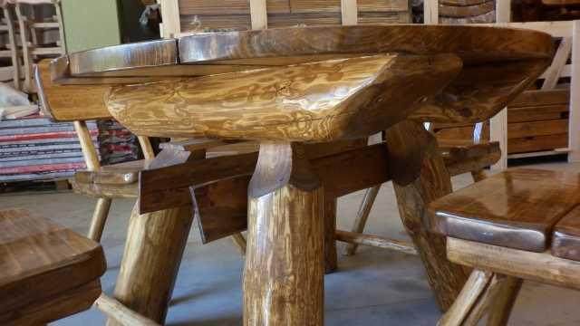 Tavolo tavoli da esterno arredo giardino tondo con 4 sedie in legno massiccio ebay - Tavoli rustici in legno ...